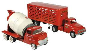 Toys (2), Tonka Toys Livestock truck & trailer, pressed