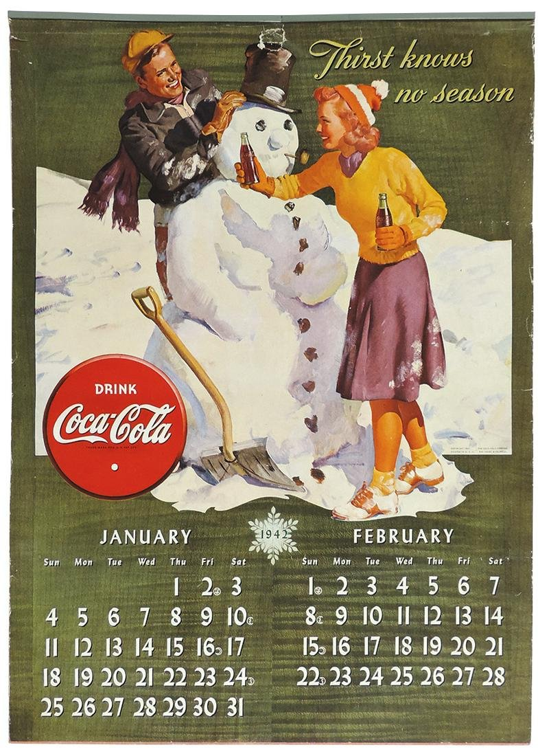 Coca-Cola 1942 calendar, bi-monthly litho on paper