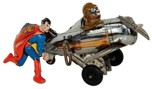 Toy Marx Superman Rollover Plane, litho on tin windup,