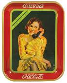 Coca-Cola serving tray, c.1930, Girl on Telephone,
