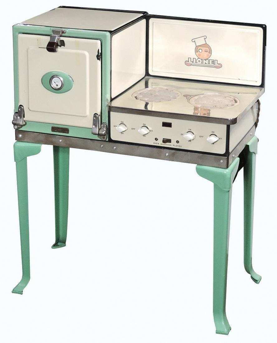 Child's stove, Lionel No. 455, 2 burner electric range