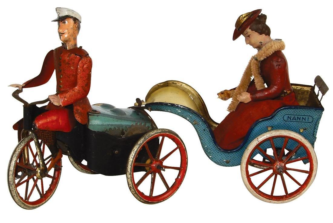 Toy Lehmann Anxious Bride, litho on tin windup, cycle