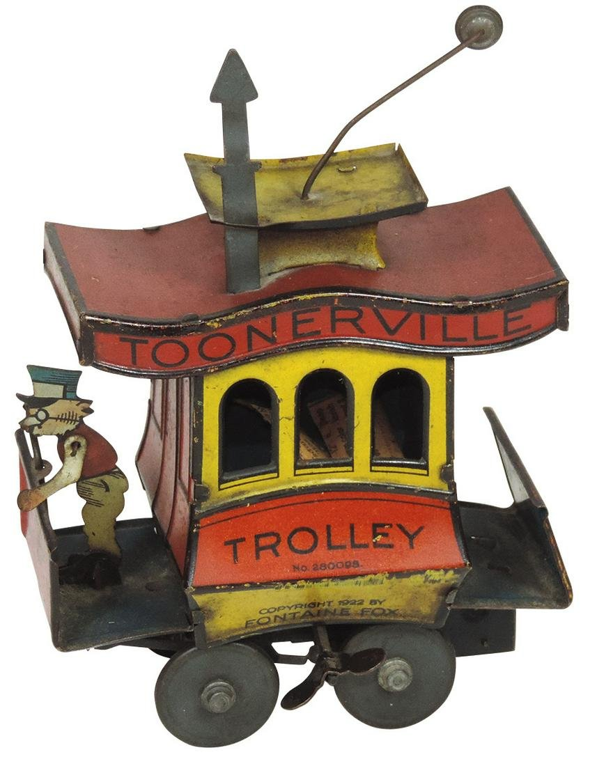 Toy Toonerville Trolley, litho on tin windup by