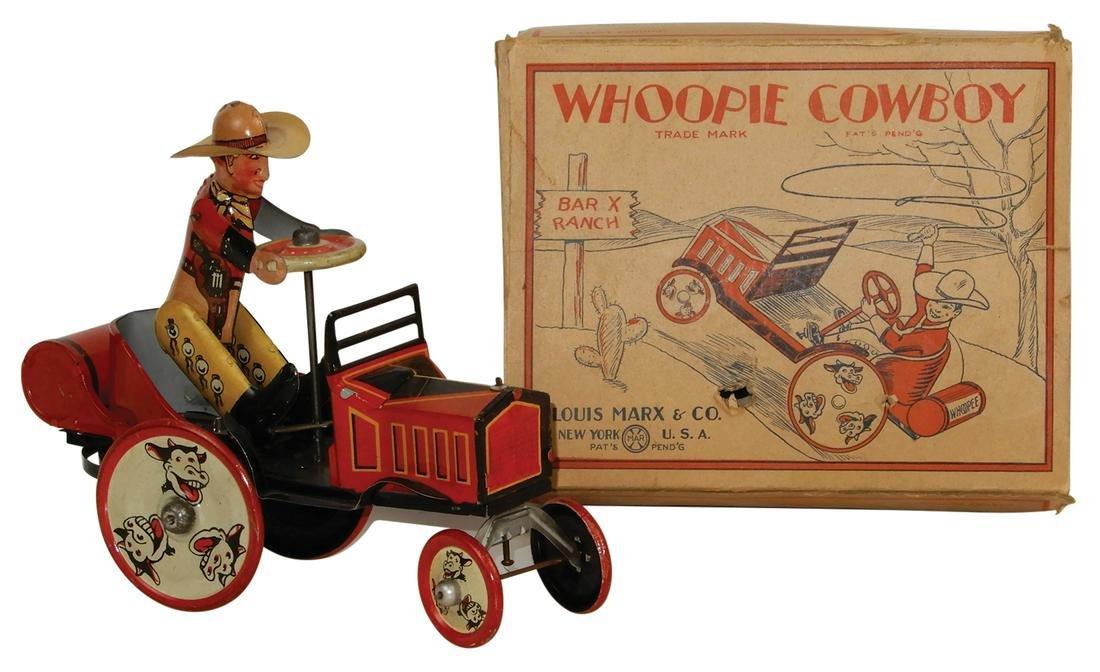Toy Marx Whoopie Cowboy car, litho on tin