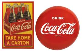 "Coca-Cola signs (2), ""TAKE HOME A CARTON"", Rare, dated"