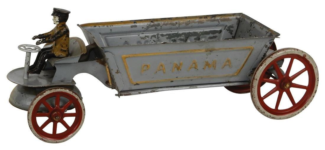 Toy Kingsbury Panama Dump Cart, pressed steel w/spoke
