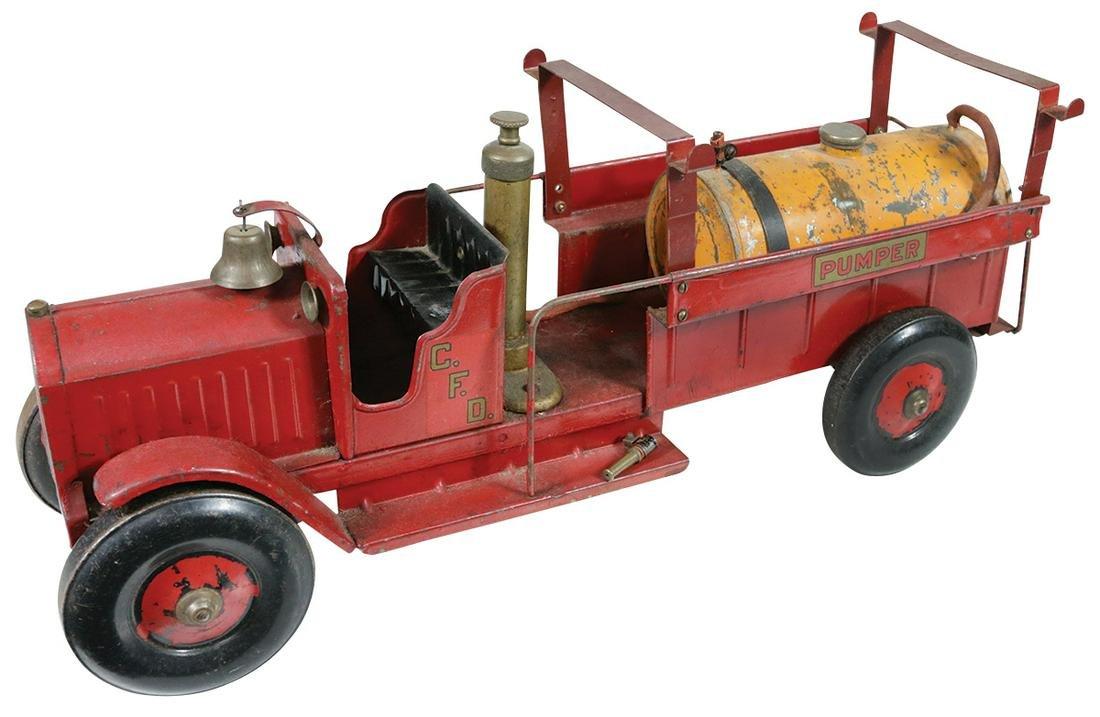 Toy truck, Structo C.F.D. Pumper, pressed steel