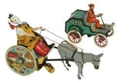 Toys (2), both Lehmann, Stubborn Donkey w/Clown Cart,