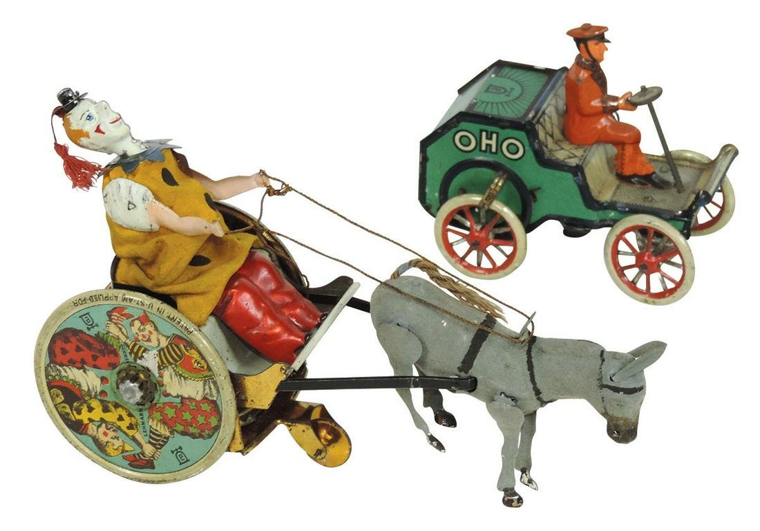 Toys (2), both Lehmann, Stubborn Donkey w/Clown Cart,