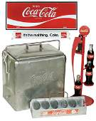 Coca-Cola items (5), embossed aluminum picnic cooler,