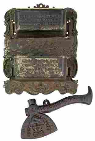 Stove adv match holder & axe, both cast iron, Eclipse,