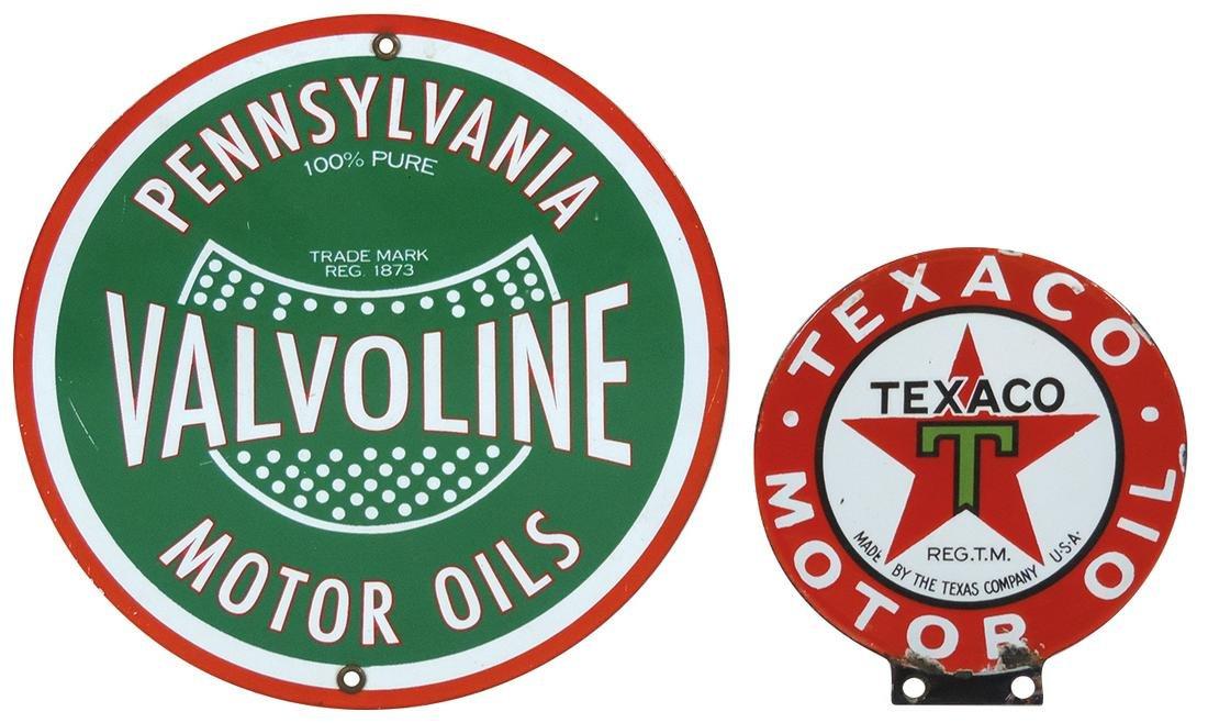 Petroliana (2), Valvoline pump plate & Texaco