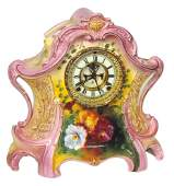 "Clock, Ansonia mantel, case marked ""Royal Bonn, German"