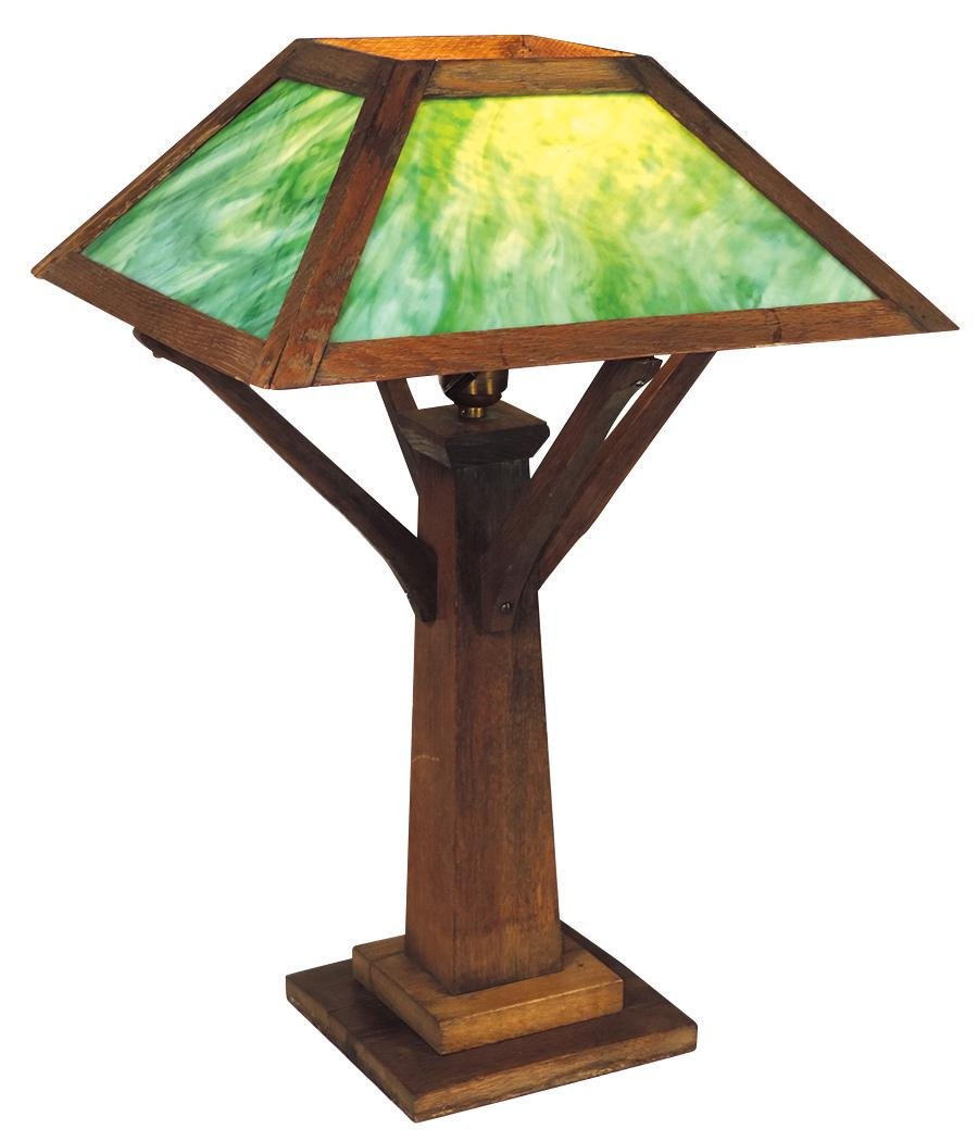 Lighting, Mission oak table lamp w/stained glass shade,