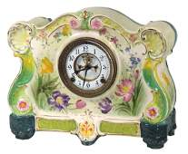 Clock, porcelain mantel w/colorful floral décor, case