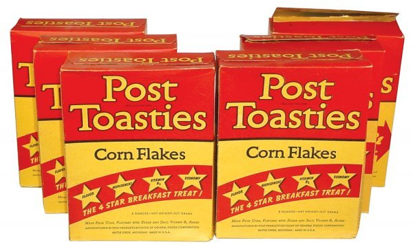 0004: Post Toasties Corn Flakes cereal boxes (6), cdbd,