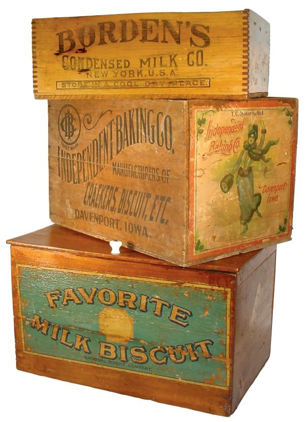 0005: Advertising boxes (3), wooden country store Favor