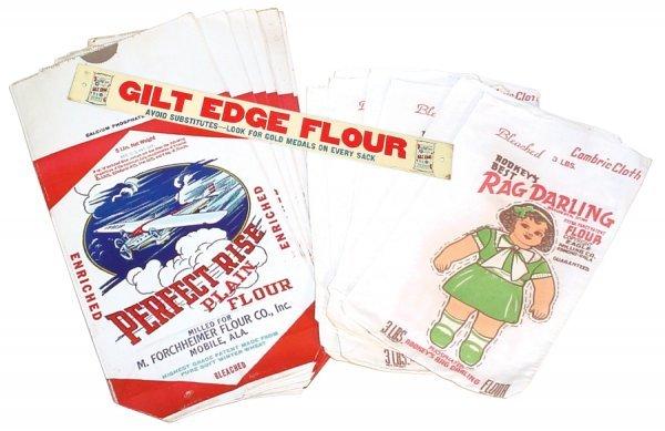 0008: Flour sacks (22) & Gilt Edge Flour shelf sign fro
