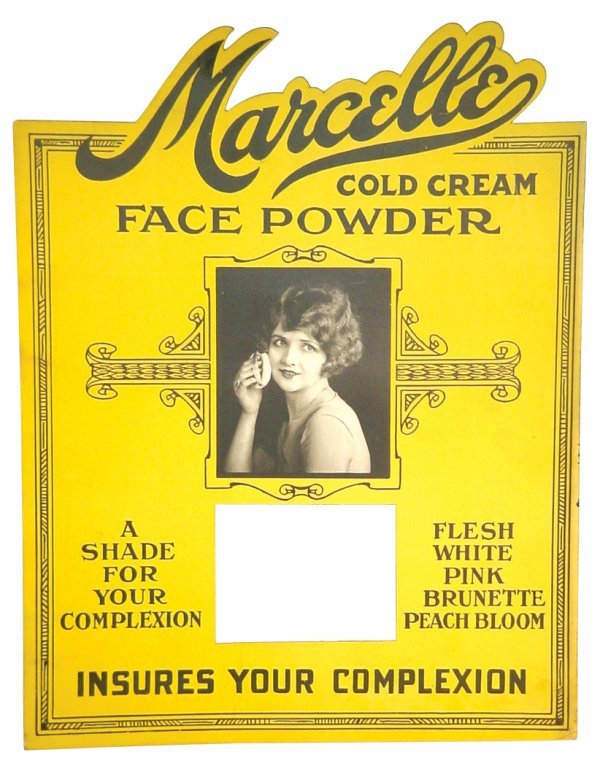 0011: Marcelle Face Powder stand-up counter sign, diecu