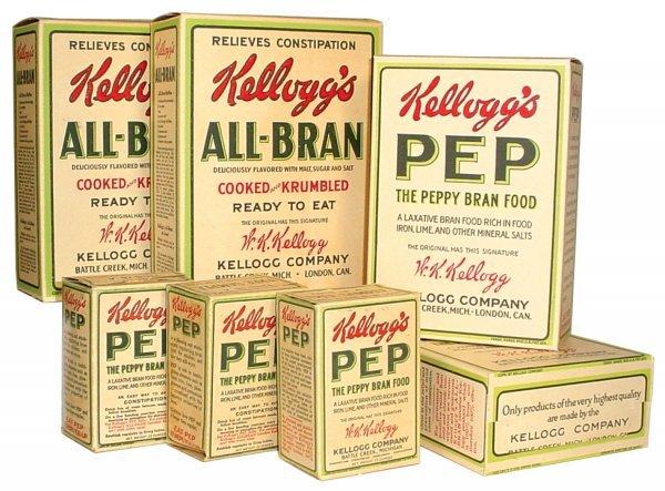 0013: Kellogg's All-Bran & Kellogg's Pep cereal boxes (