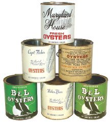 0019: Oyster tins (6), all gallon containers, 2 w/lids,