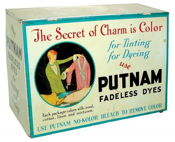 0021: Putman Dye cabinet, litho on tin, shows lady w/dy