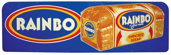 0077: Rainbo Bread sign, colorful litho on tin w/loaf o