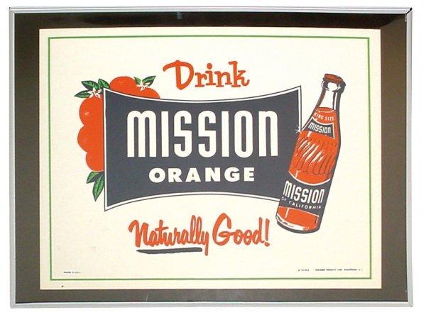0751: Mission Orange sign, litho on cdbd, Exc cond, fra