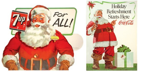 0753: Coca-Cola & 7-Up Santa signs (2), 7-Up dated 1955