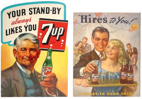 0754: Hires Root Beer & 7-Up cdbd easelback signs, both