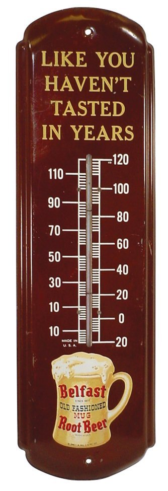 0755: Belfast Root Beer thermometer, metal, dated 1950,