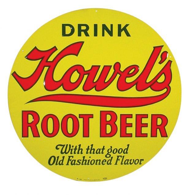 0756: Howel's Root Beer sign, round embossed metal, Ame
