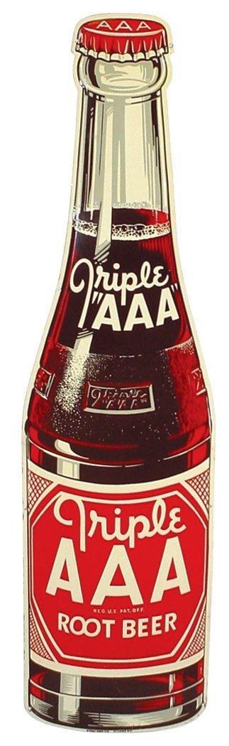 0757: Triple AAA Root Beer bottle sign, diecut metal by