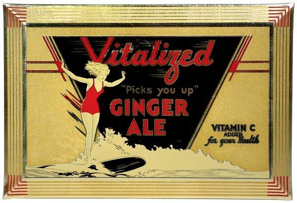 0759: Vitalized Ginger Ale self-framed metal sign, grea