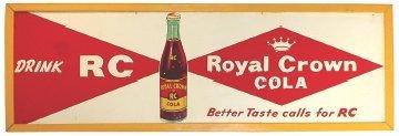 0765: Royal Crown Cola embossed metal sign w/bottle gra