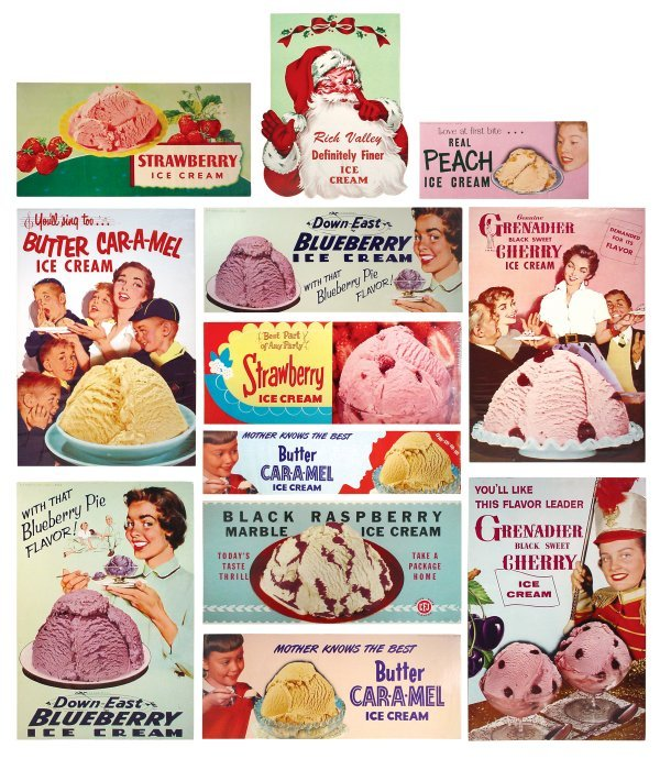 0768: Ice cream flavor signs (12), Rich Valley, Down-Ea