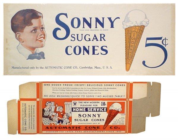 0769: Ice cream cone sign & box for Sonny Sugar Cones,