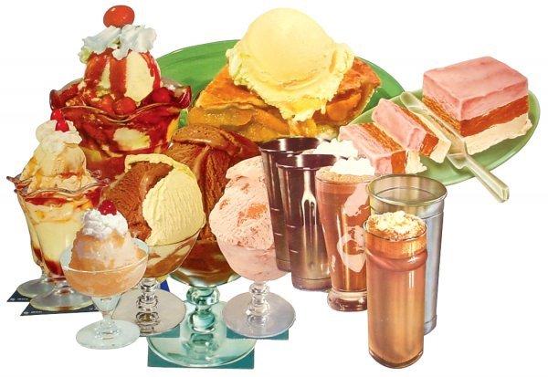 0770: Ice cream treat diecuts (12), colorful litho on c