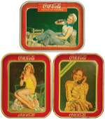 0814: Coca-Cola serving trays (3), 1932 Swimsuit Girl,
