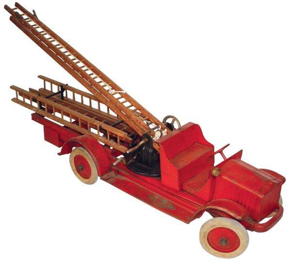 "1137: Toy, White fire truck, Kelmet Corp., ""Big Boy"", h"