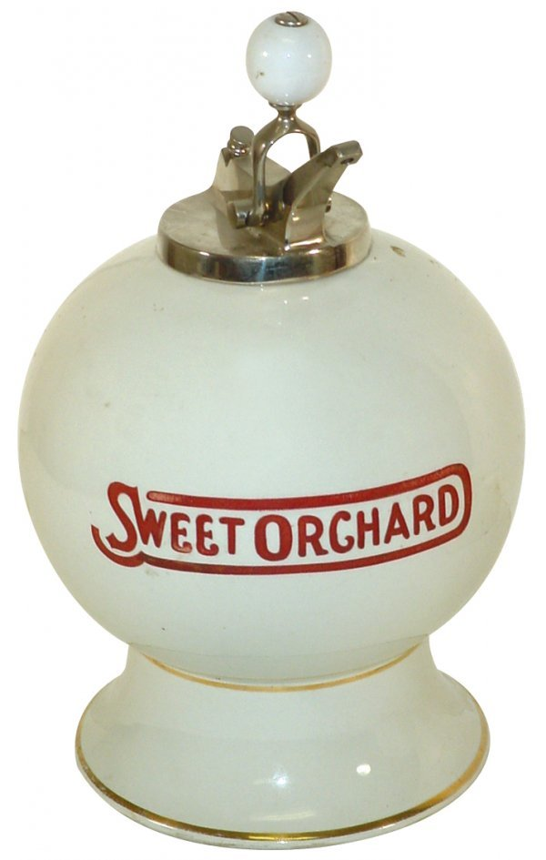 1238: Syrup dispenser, Sweet Orchard, ball shape w/etch