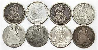 Coins (8): Liberty Seated Half Dollars, 1841 F-12,