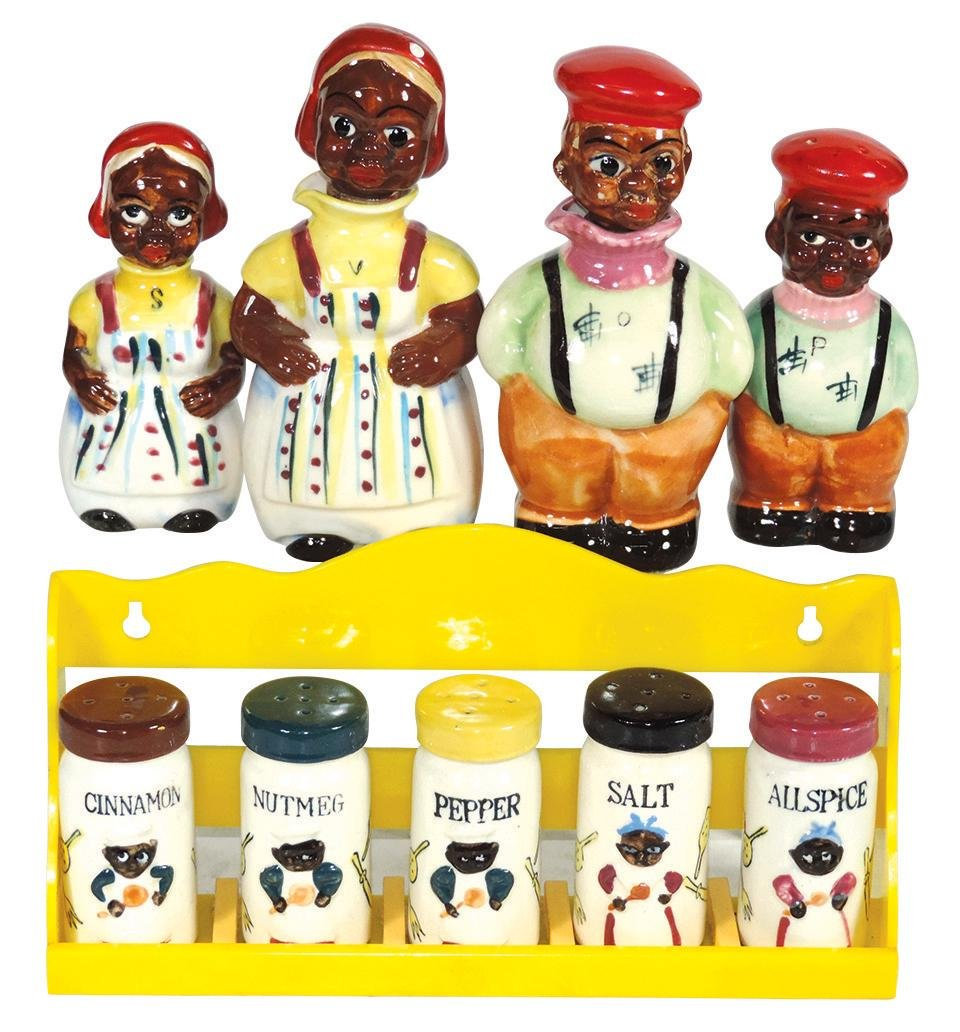 Black Americana, Mammy & Chef S&P set, oil & vinegar