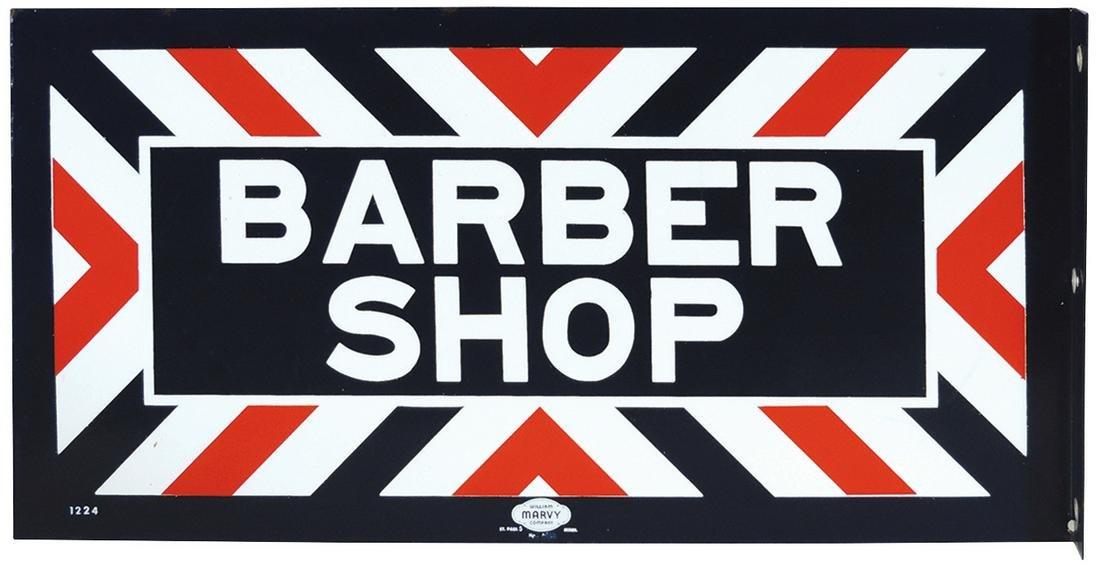 Barber Shop Flange Sign, double-sided porcelain, mfgd