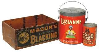 Black Americana, Tins & Crate (3), Luzianne 3 lb coffee