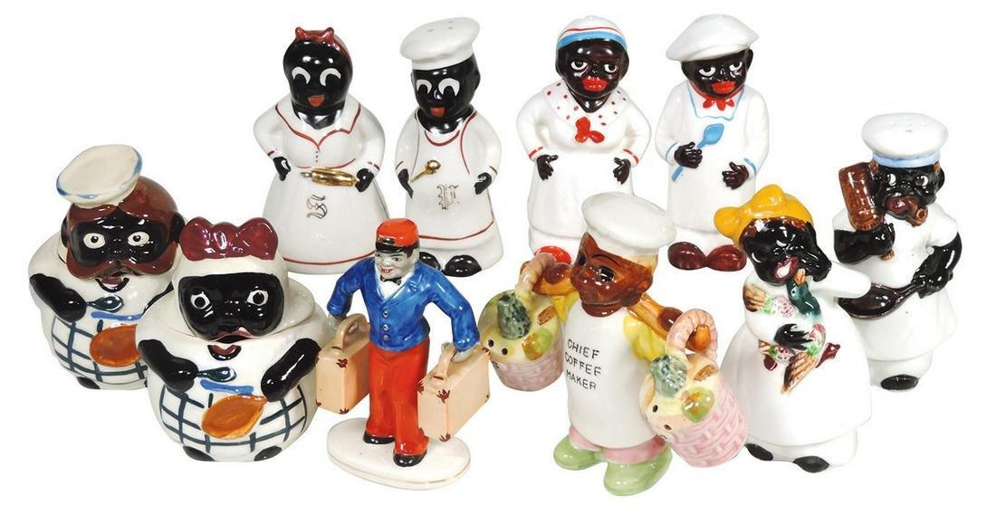 Black Americana, (5) figural ceramic S&P sets & Chef &