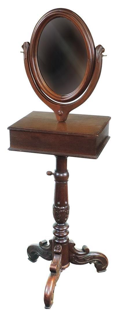 Furniture, Victorian Carved Walnut Shaving Stand,