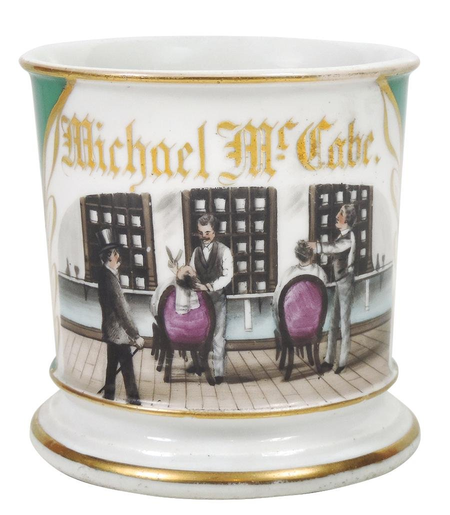 Occupational Shaving Mug, Two barbers, pictured on pg