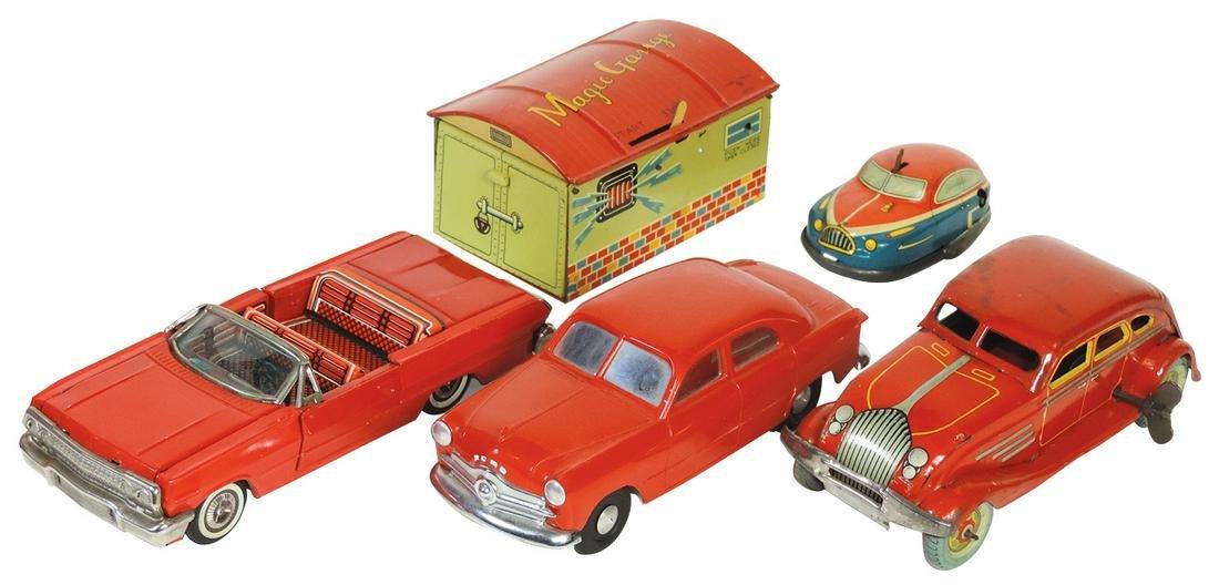 Toy Cars & Garage (5), litho on tin windup & friction,