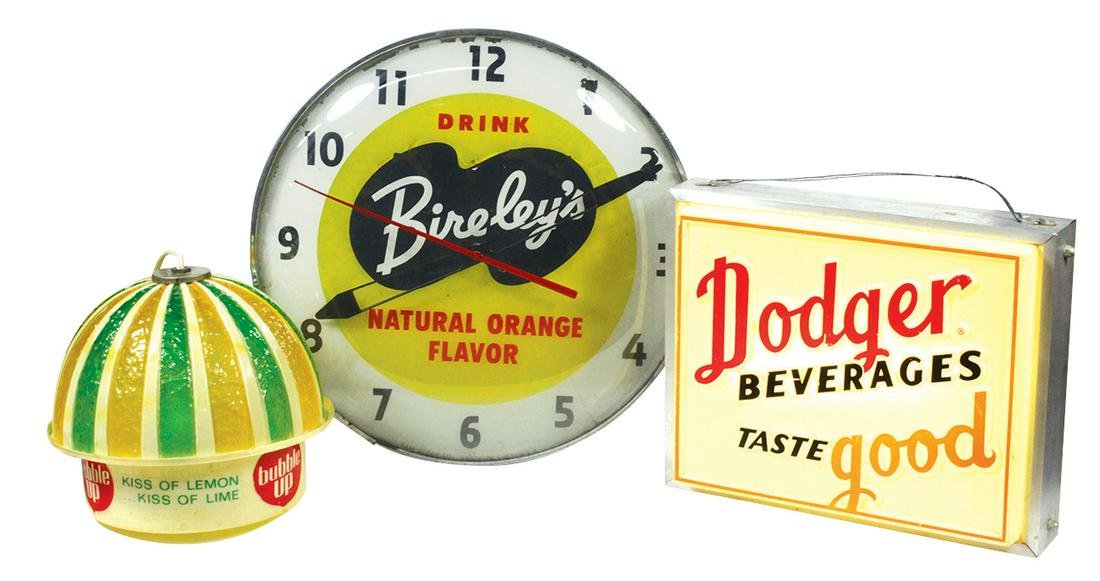 "Soda Fountain Clock, Sign & Lamp (3), ""Bireley's"" Pam"